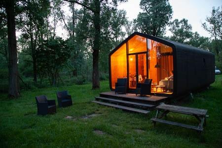 Wikkelhouse op de Stayokay-camping in de Hollandse Biesbosch